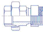 Гайка соединительная с внутренней резьбой и коническим уплотнением, чертеж