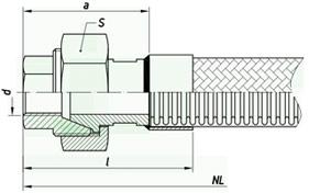 Металлорукав с арматурой «гайка «американка» с коническим уплотнением» НМ100