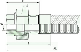 Металлорукав с арматурой «гайка «американка» с плоским уплотнением» НМ090