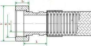 Металлорукав с арматурой «внутренняя резьба (накидная гайка)» НМ050