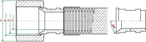 Металлорукав с арматурой «конус-конус с углом 74°» НМ080